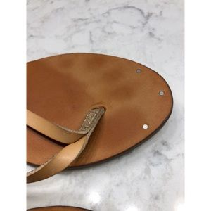 American Eagle Outfitters Shoes - American Eagle Light Brown Faux Leather Flip Flops